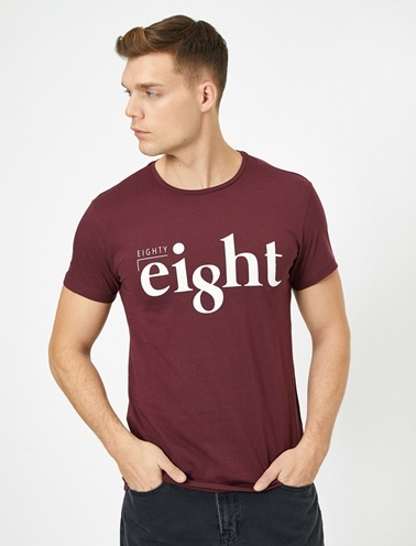 Koton Yazili Baskili T-Shirt Bordo